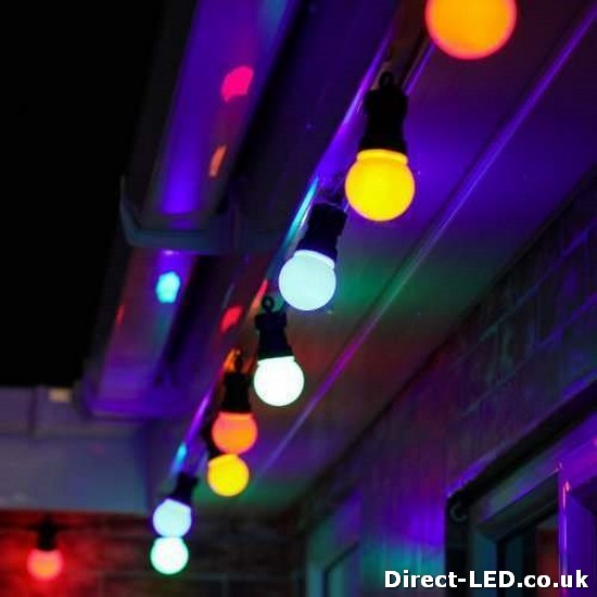 Outdoor Plug In Festoon Lights, 20 Multi Coloured LED's