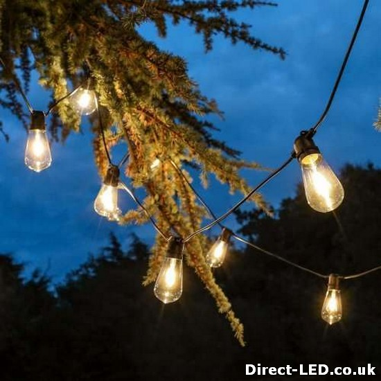 Outdoor Tulip Filament Style Festoon Lights, Connectable, Warm White LED's